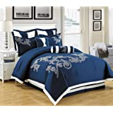 Amazon Price History for:8 Piece Dulce Mega Floral Embroidery Bed in a Bag Comforter Navy Blue, White Queen Size