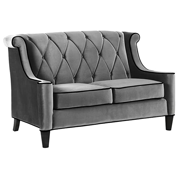 Armen Living LC8442GRAY Barrister Loveseat in Grey Velvet and Black Wood Finish