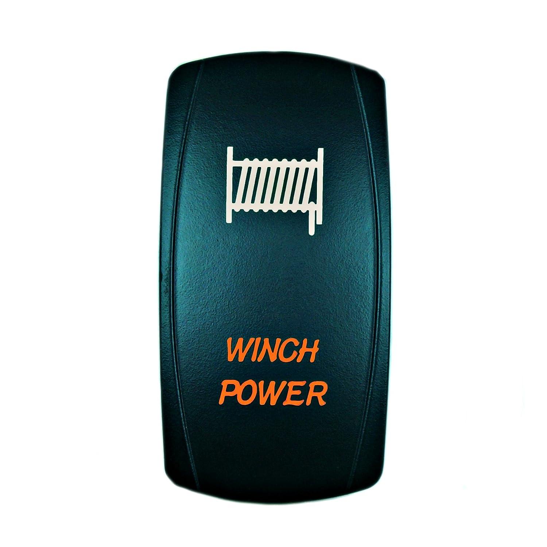 Universal Laser Rocker Switch Backlit LED WINCH POWER for Car Truck Boat ATV UTV 12V Bright Light Powersports Orange