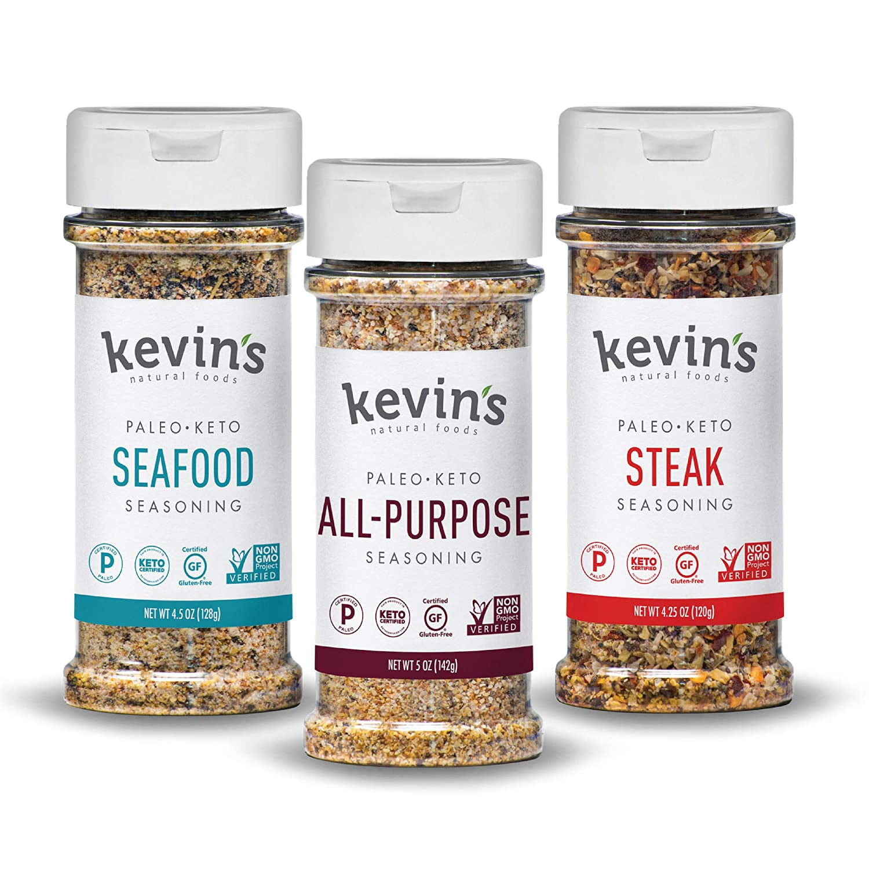 Kevin's Natural Foods - Keto and Paleo Seasoning, Spice Blends - Variety 3 Pack (Seafood/ Steak/ All-Purpose Seasonings)