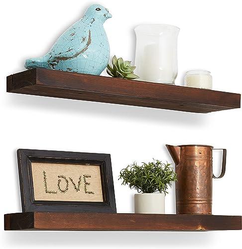 Reclaimed Wood Floating Shelves – 24 x5.5 x1.5 – Floating Shelf Set of 2 – Rustic Floating Shelves Wood – Rustic Wall Shelves for Bedrooms, Bathroom, Kitchen – Farmhouse Reclaimed Wood Shelves – Pine