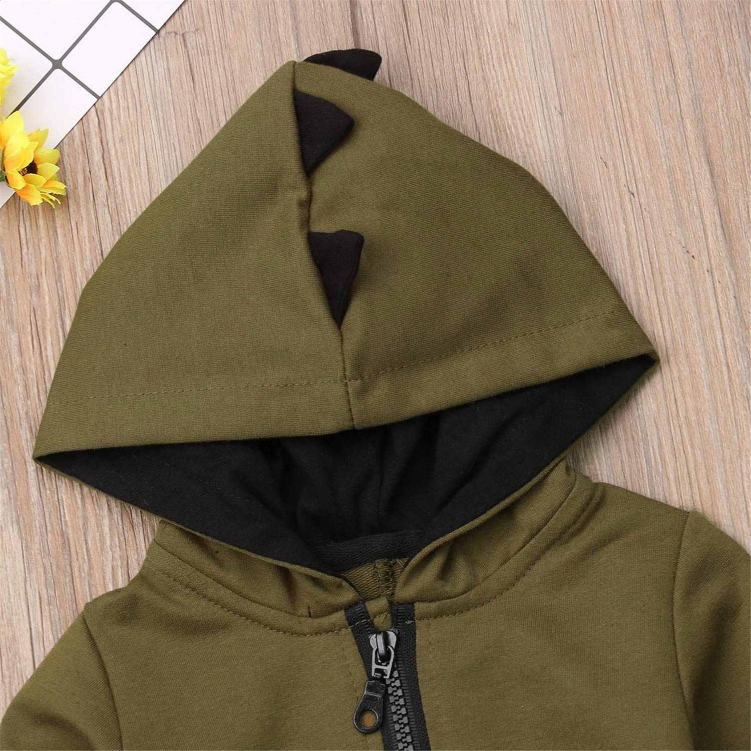 Dinosaur Newborn Infant Infant Boy Girl Hooded Romper Jumpsuit Clothing Outfit Long Sleeve Princess or Queen Prince