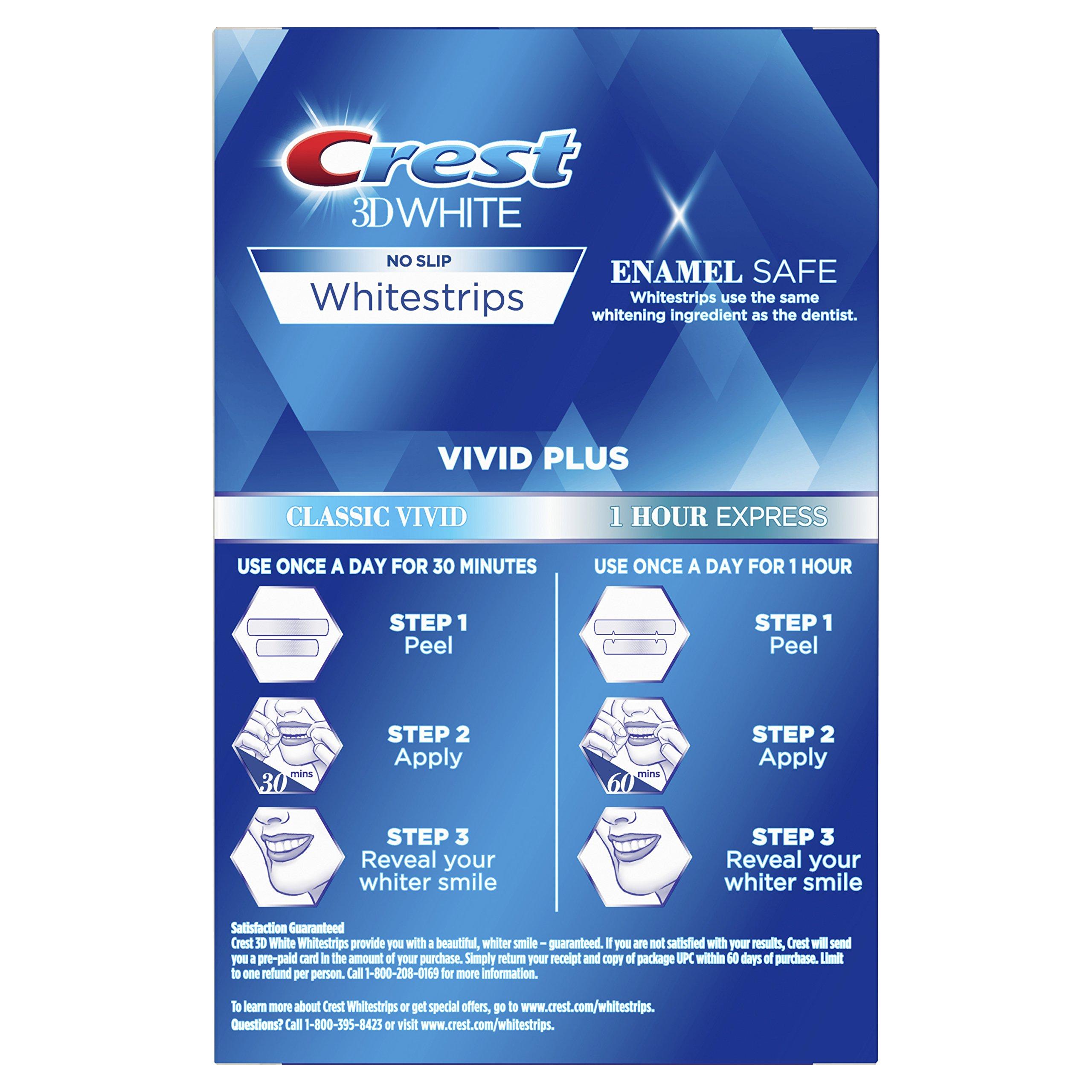 Crest 3D White Whitestrips Vivid Plus 12 Treatments – 10 Treatments Vivid Whitestrips + 2 Treatments 1 Hour Express Dental Teeth Whitening Kit by Crest (Image #2)