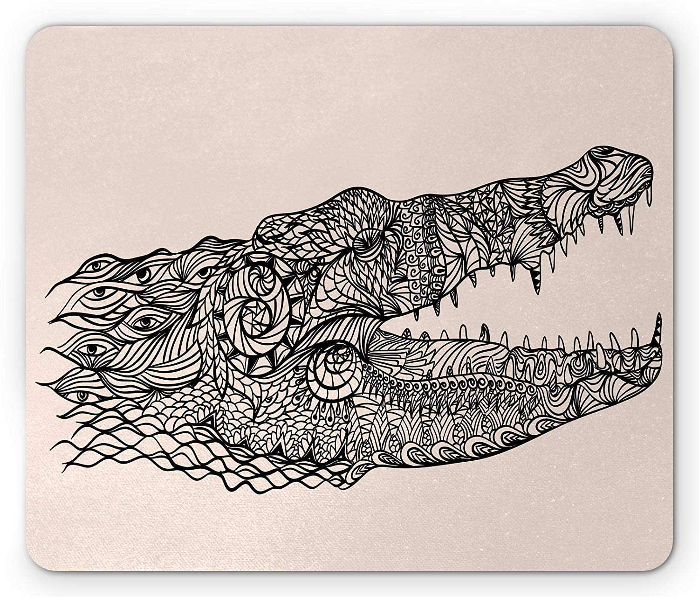 Alligator Mouse Pad, Stylized Modern Crocodile Head with Hand ...