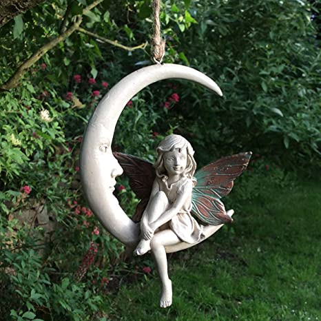 Prezents.com - Figura decorativa de hada del bosque, color rosa cobre con alas blancas, 15 cm de altura: Amazon.es: Jardín