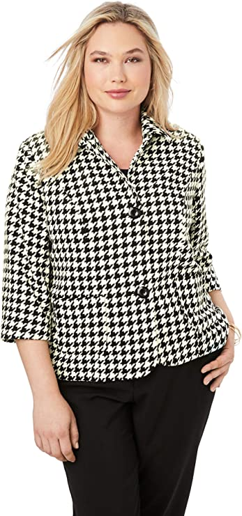 Vintage Coats & Jackets | Retro Coats and Jackets Jessica London Womens Plus Size Cropped Blazer Jacket $50.99 AT vintagedancer.com