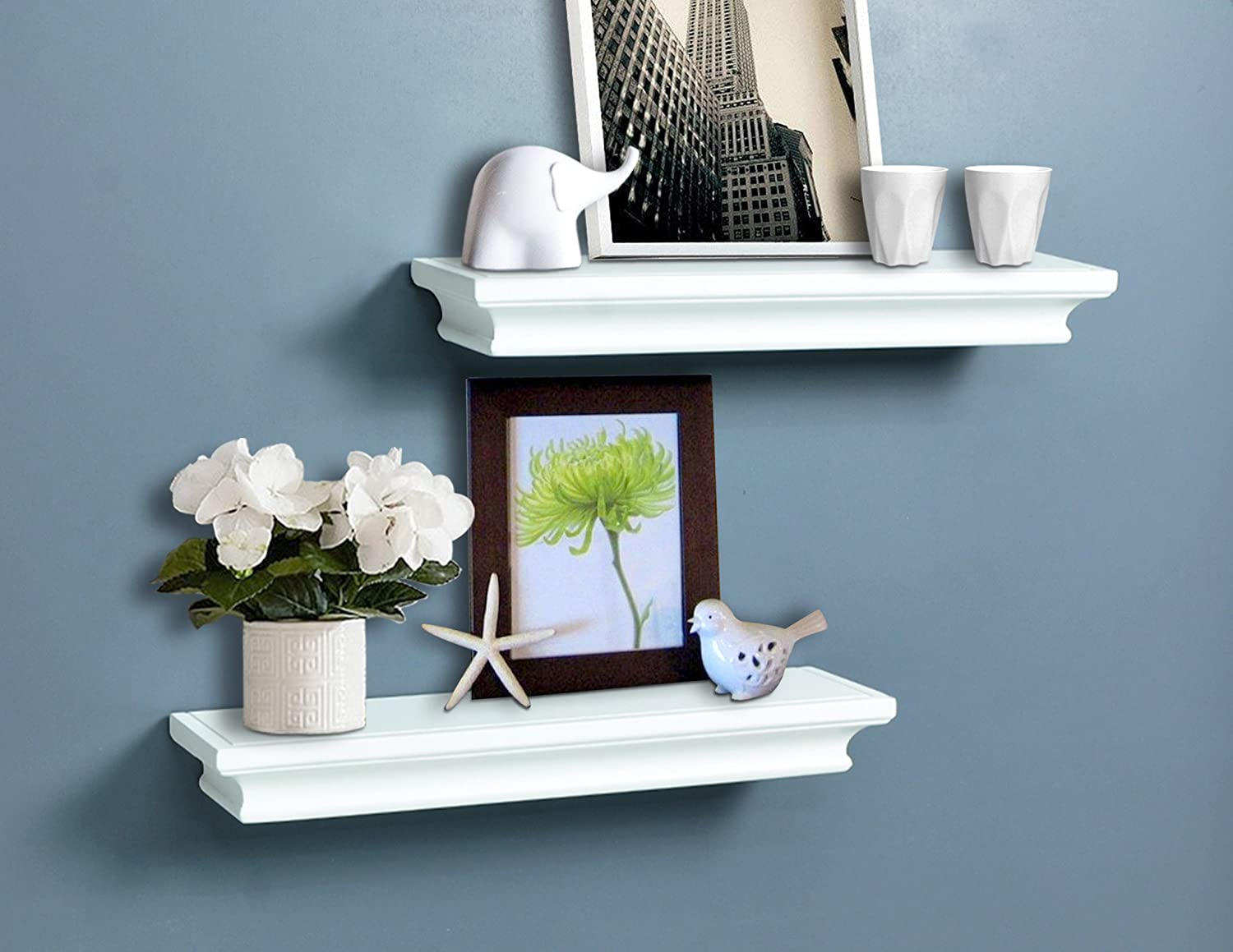"AHDECOR White Floating Shelves, Ledge Wall Shelf for Home Decor with 4"" Deep, 2-Pack"