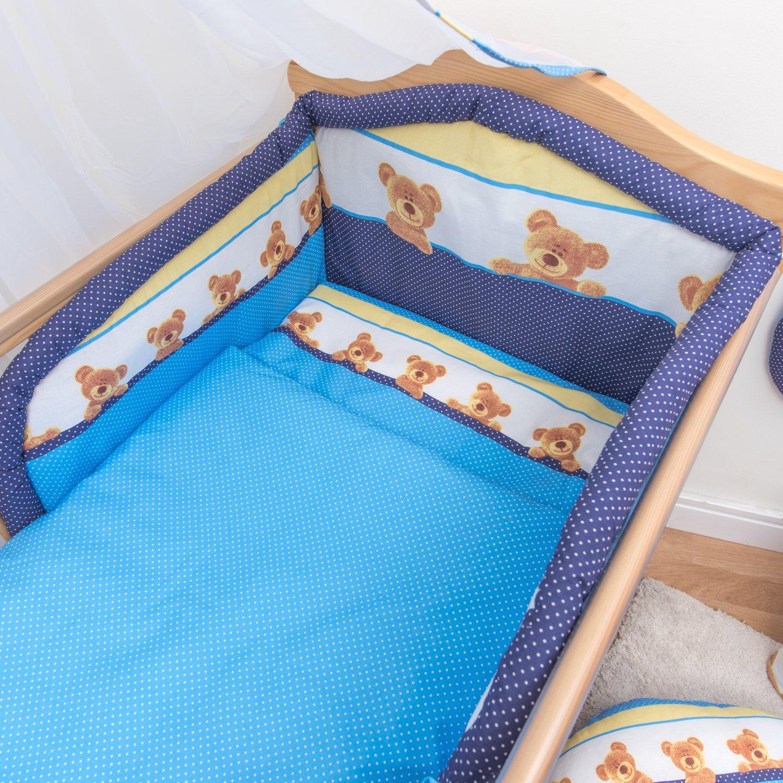 5 Pcs Baby Bedding Set Padded Safety Bumper Fits Cot 120x60 cm, Pattern 13