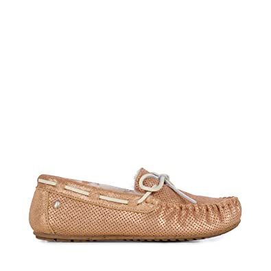 Amazon.com | EMU Australia Womens Moccasins Slippers Amity Metallic Sheepskin in Rose Gold Size 6 | Slippers