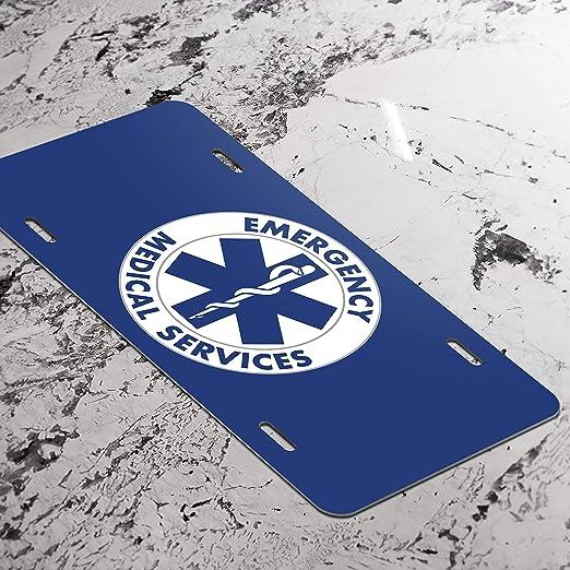 EMT Star of Life Emblem Vanity Front License Plate Tag Printed Full Color KCFP027 KCD