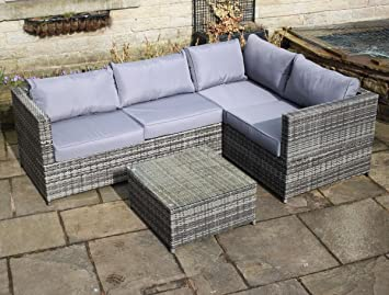 Rattan Outdoor 4 Seat Corner Sofa Patio Garden Furniture In Grey