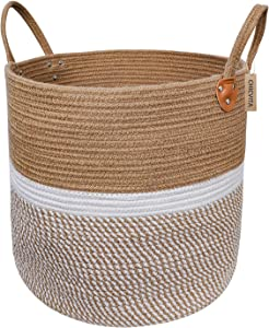 "CHICVITA Extra Large Jute Basket Woven Storage Basket with Handles – Natural Laundry Basket Toy Towels Blanket Basket Home Decor Gift, 16"" x 16"", White"