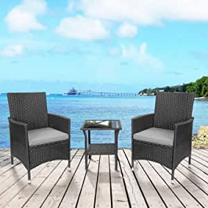 LZ LEISURE ZONE Patio Porch Furniture Sets, 3 Pieces Cushioned PE Rattan Wicker Chairs Outdoor Seating Bistro Set Garden Balcony Deck (Beige)