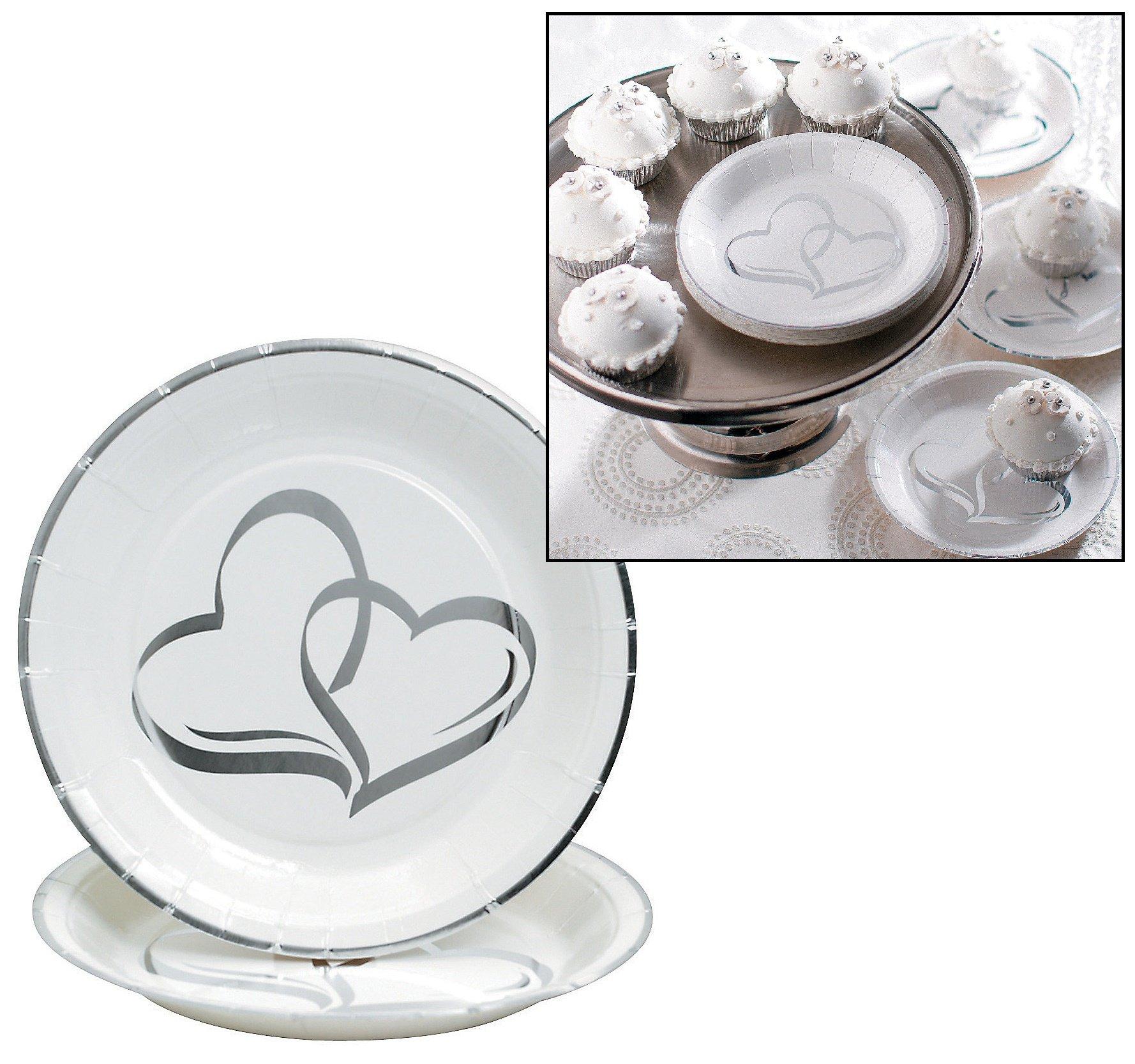 Two Hearts Paper Dessert Plates (25 pcs. per set) 7''