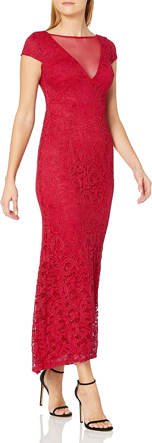 Marina Women's Illusion V Lace 2021 autumn and winter new Gown Time sale Neck