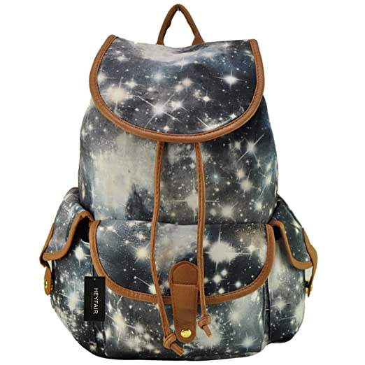 HEYFAIR Women Casual Galaxy Print Canvas Backpack School College Bags Travel Daypack (Grey)