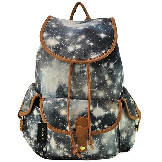 HEYFAIR Women Casual Galaxy Print Canvas Backpack School College Bags Travel Daypack (Grey)