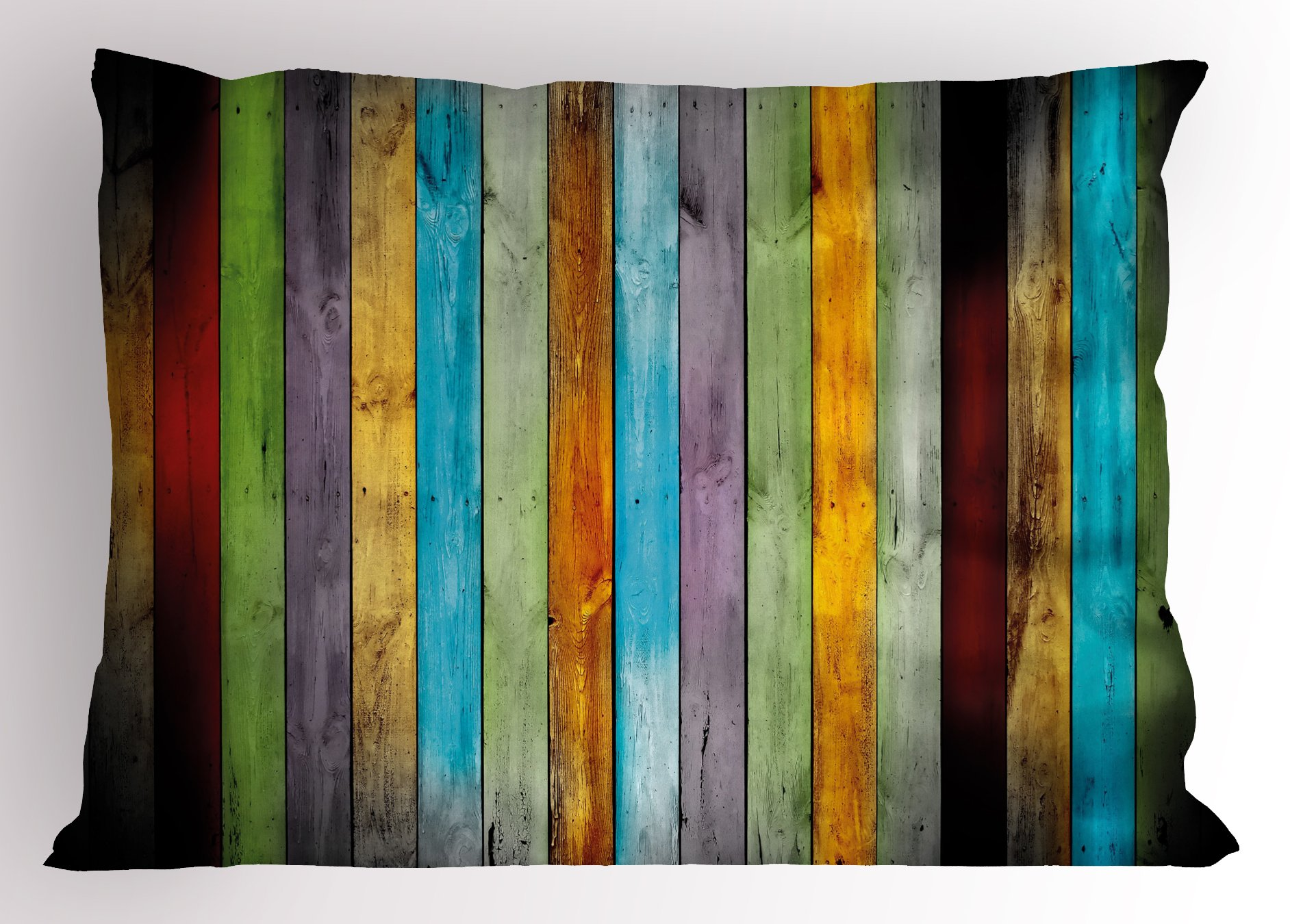 Lunarable Colorful Pillow Sham, Vertical Wood Planks in Carpentry Oak Timber Rustic Country Life, Decorative Standard Queen Size Printed Pillowcase, 30 X 20 inches, Multicolor