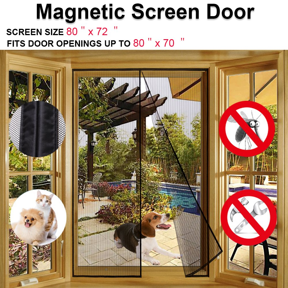 Magnetic screen door for french doors sliding glass doors patio magnetic screen door for french doors sliding glass doors patio doors fits doors up to 80hx70w 80x72curtainmax keeps bugs out lets fresh air in vtopaller Image collections