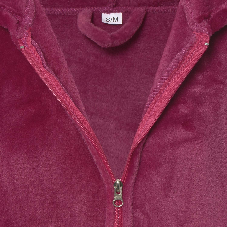Taille S//M Beige Montse Interiors Robe de Chambre pour Femme Polaire Velours Douce avec Capuche Design /« BATA Coral/»