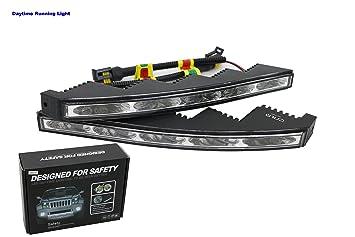 Luces de día DRL de alta calidad, LED de 5 W, luz de día dentada, resistente al agua de 9 – 36 V.: Amazon.es: Coche y moto