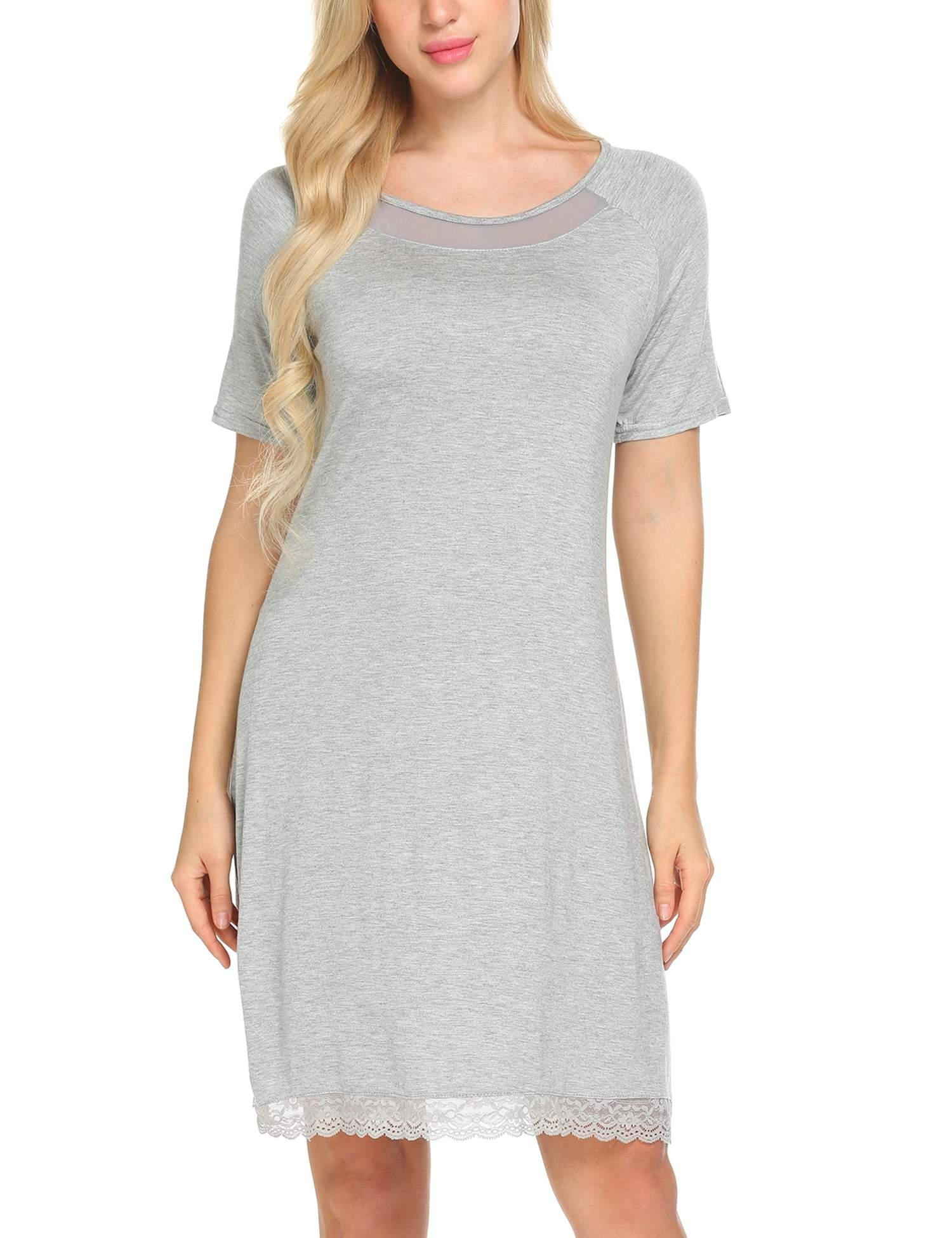 Ekouaer Women's Short Sleeve Nightwear Cotton Sleep Shirt (Grey,L)