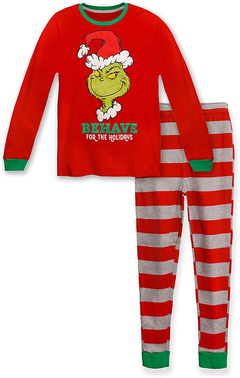 Grinch By Dr Seuss Ladies Christmas Jersey Pyjama set gift box with eye mask