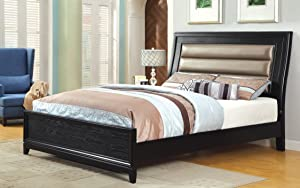 Furniture of America Tristan Modern Leatherette Bed with Nail Head Trim, California King, Black