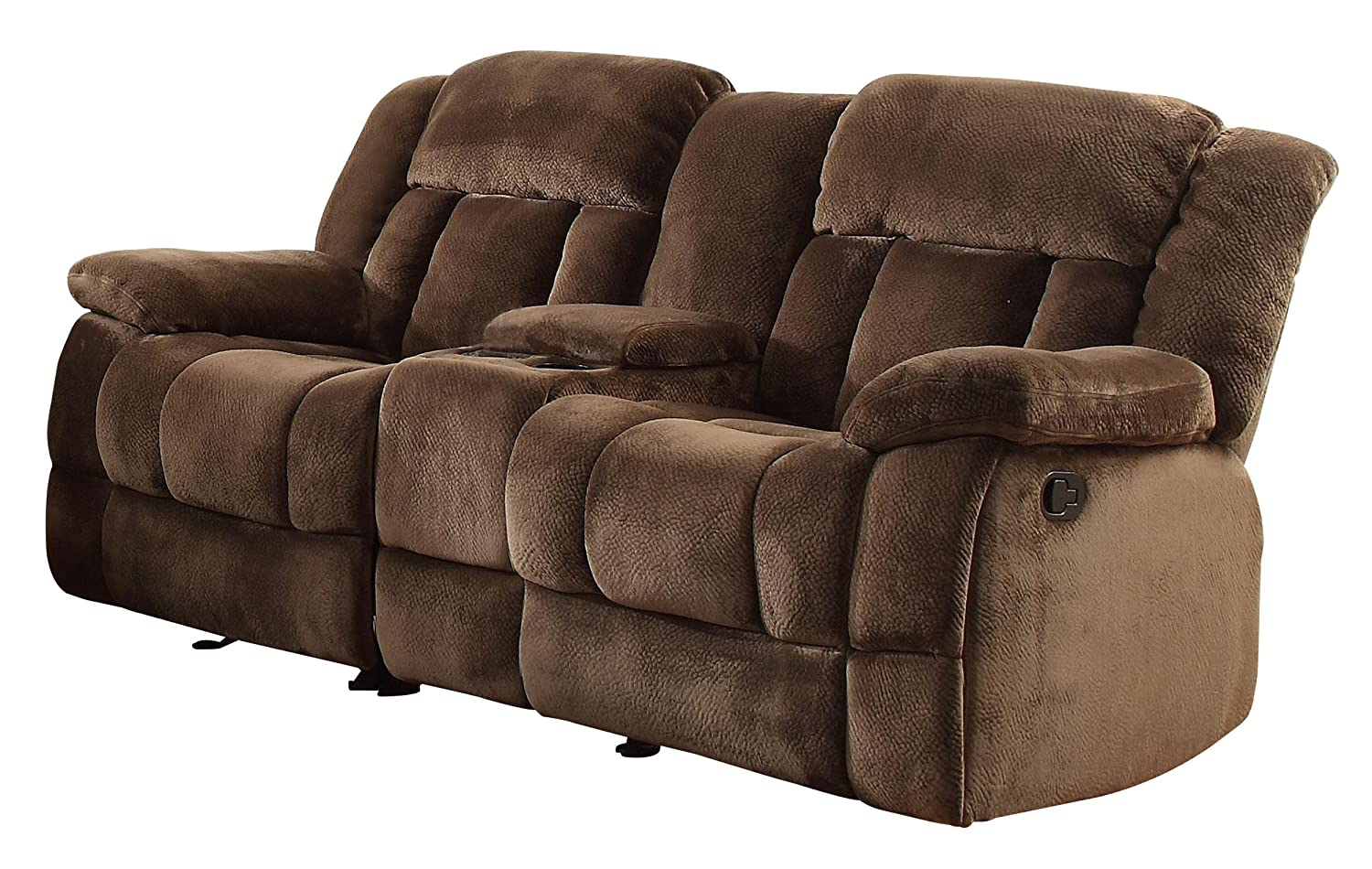 Amazon.com: Homelegance 9636 2 Laurelton Textured Plush Microfiber Dual  Glider Recliner Love Seat With Console, Chocolate Brown: Kitchen U0026 Dining