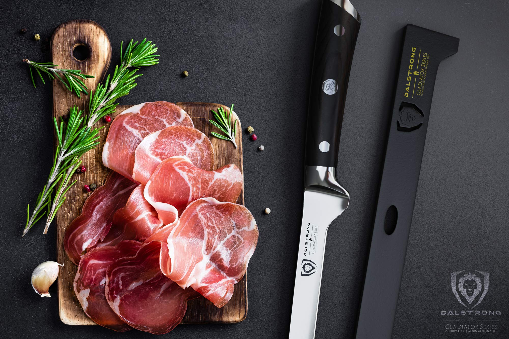 DALSTRONG - Spanish Style Meat & Ham Slicer - Gladiator Series - German HC Steel - 12'' w/Sheath by Dalstrong (Image #5)