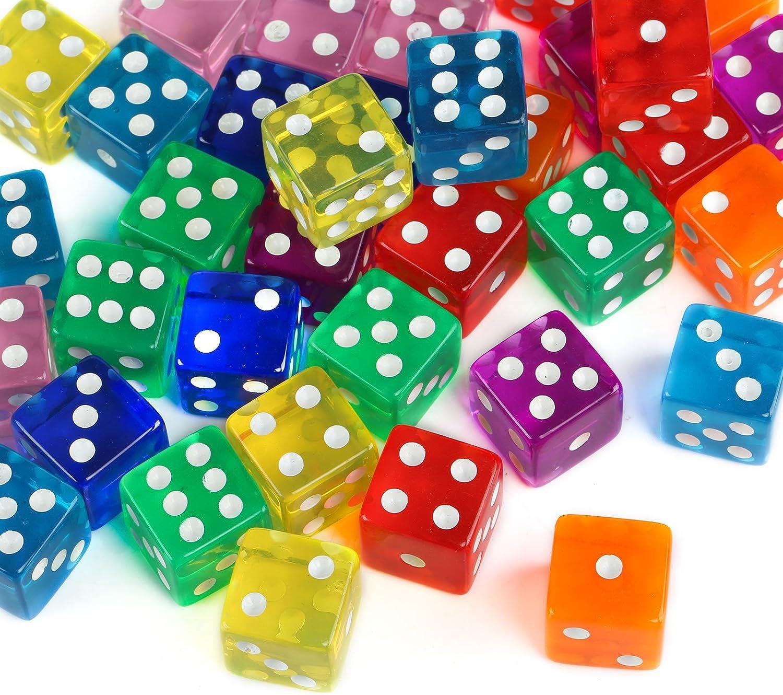 GWHOLE 40 Piezas Coloridos Dados (6 Caras, 16mm) Translúcidos Conjunto para Juegos de Dados, Tenzi, Farkle, Yahtzee, Bunco o Enseñanza de Matemática, Casino, Regalos, Party Favor - 8 Colores