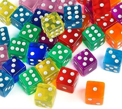 GWHOLE 40 Piezas Coloridos Dados (6 Caras, 16mm) Translúcidos Conjunto para Juegos de Dados, Tenzi, Farkle, Yahtzee, Bunco o Enseñanza de Matemática, Casino, Regalos, Party Favor - 8 Colores: Amazon.es: Juguetes y juegos