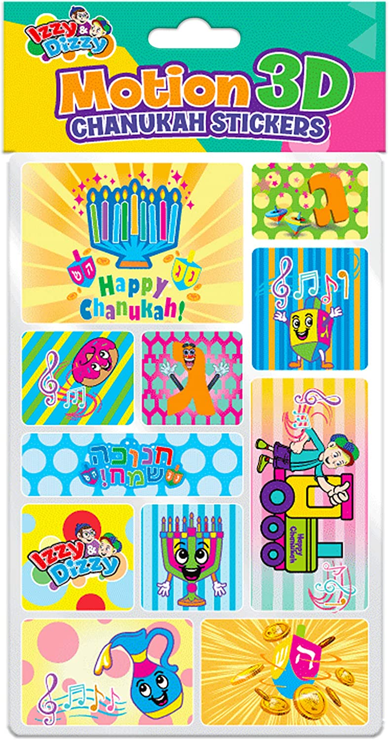 Izzy n Dizzy Hanukkah Stickers Motion and 3D- Sheet of Chanukah Stickers Holiday Stickers 11 Fun Hanukkah Designs 4 Pack