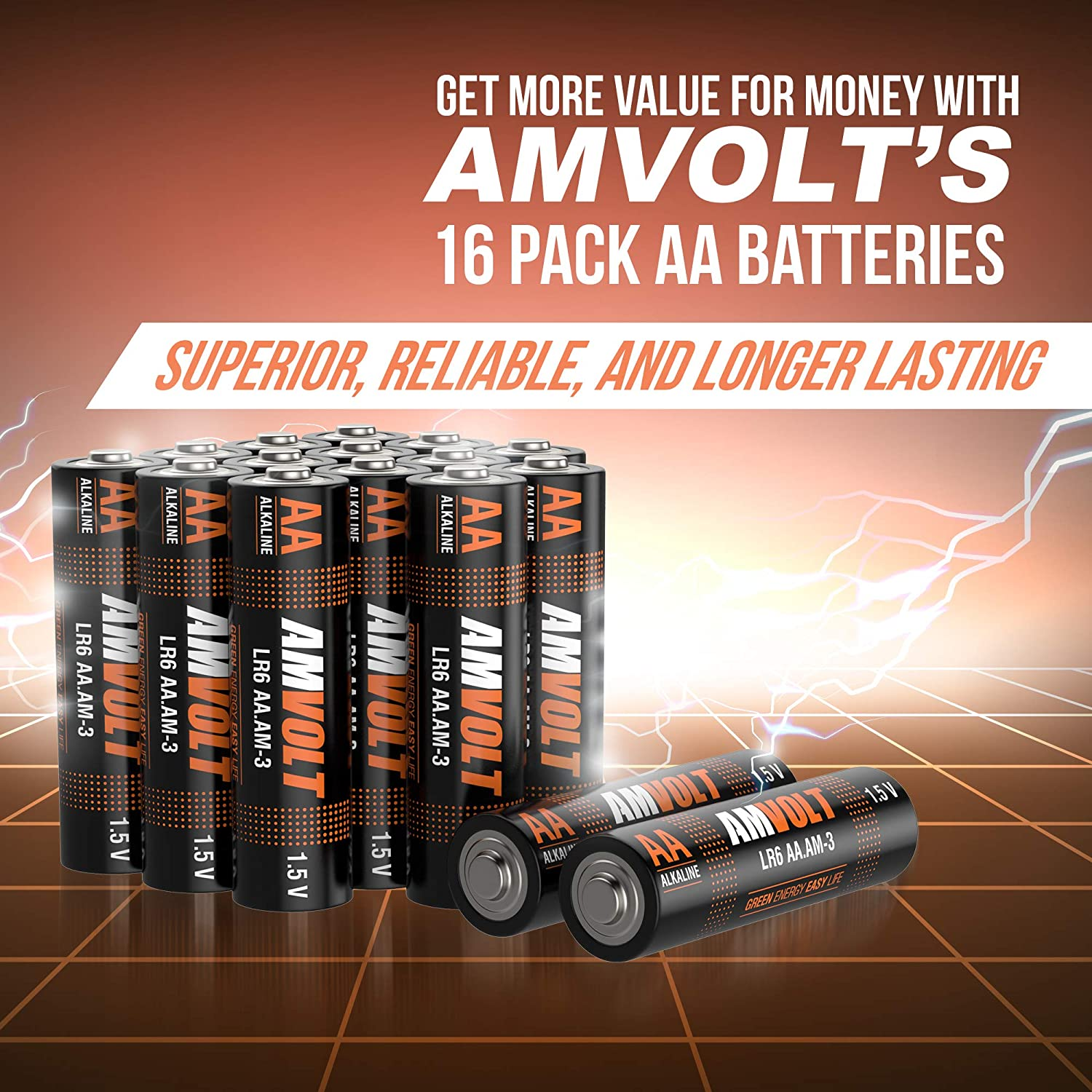 Exp. 2028 16 Pack AA Batteries Premium LR6 Alkaline Battery 1.5 Volt Non Rechargeable Batteries for Watches Clocks Remotes Games Controllers Toys Ultra Power