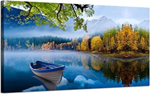 Arjun Lake Canvas Wall Art Prints Blue Sky Natural Landscape Painting Panoramic Mountain Picture Artwork Autumn Framed for Living Room Bedroom Home Office Wall Decor, 60
