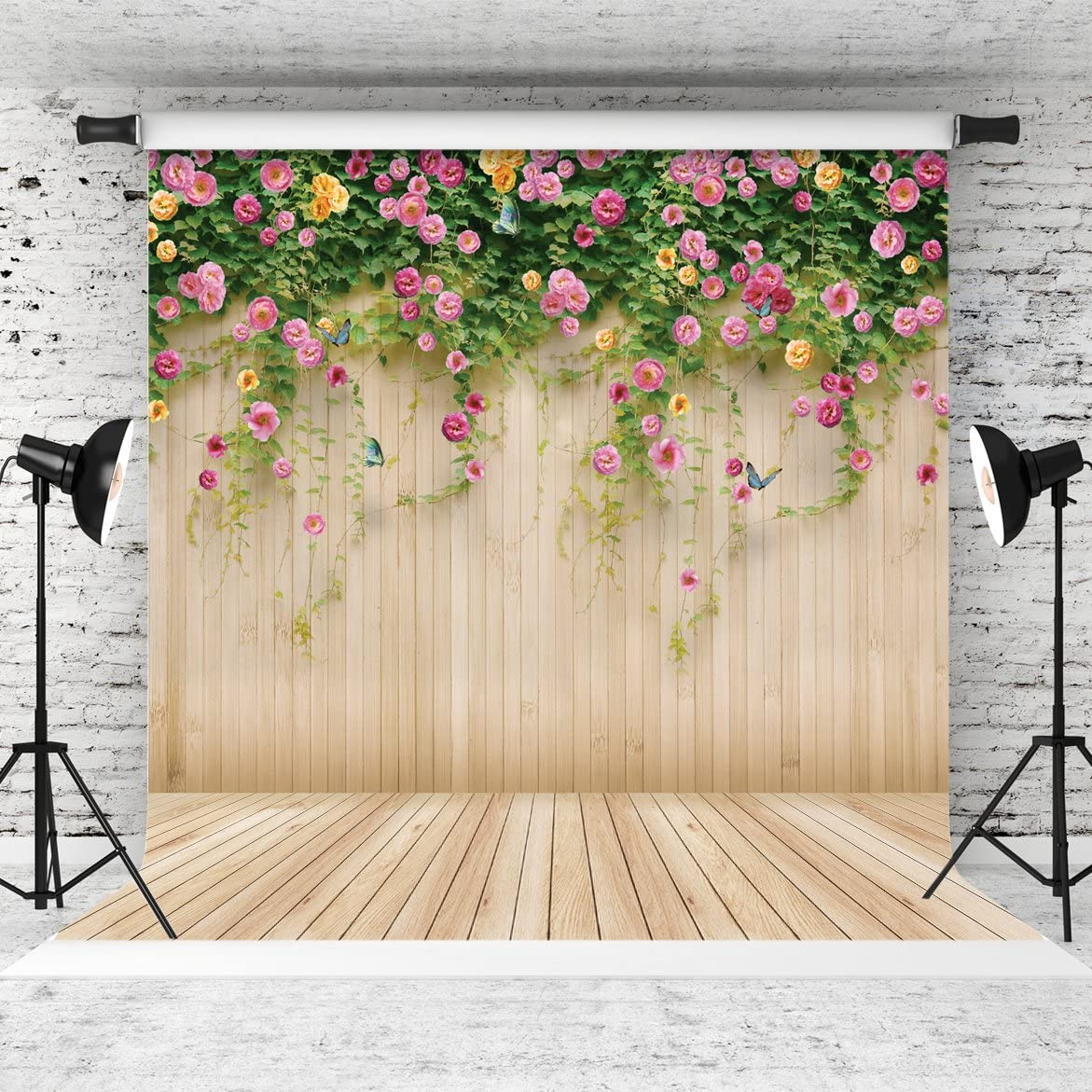 7x10 FT Vinyl Photography Backdrop,Flower Pattern with Colorful Arrangement of Spring Blooms Ornate Petals Composition Background for Child Baby Shower Photo Studio Prop Photobooth Photoshoot
