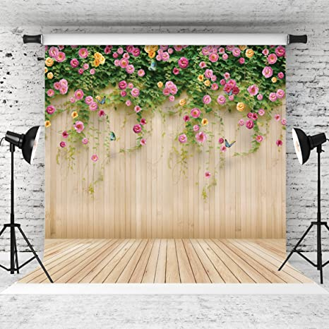 Amazon Com Wolada 8x8ft Wood Flowers Backdrop Party Photography
