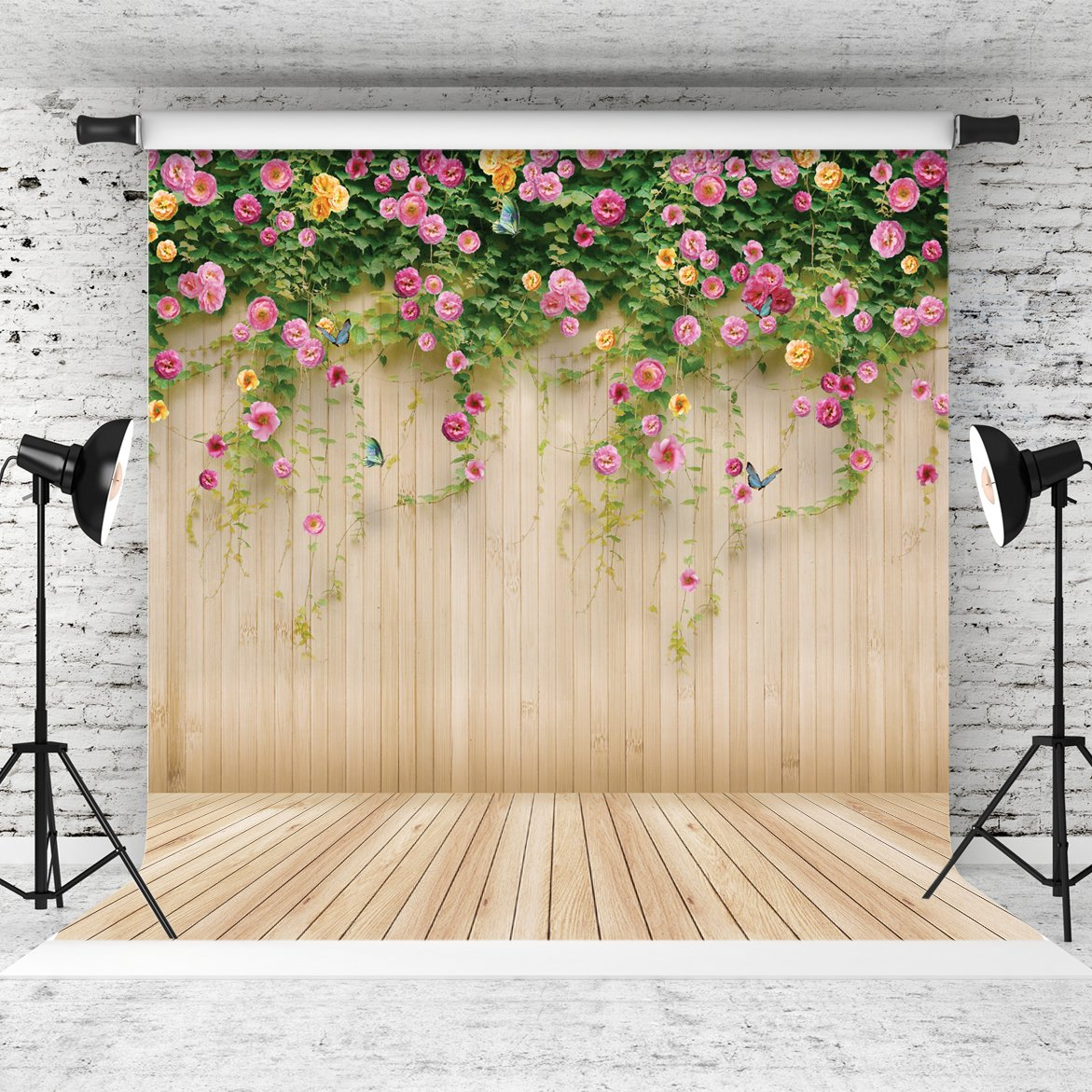 WOLADA 10x10ft Spring Backdrop Flower Wood Photography Backdrop Prop for Children Wedding Lover Photo Studio Props 8909