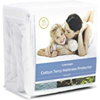 Linenspa Cotton Terry Mattress Top Protection-Hypoallergenic-Waterproof-Blocks Dust Mites, Allergens, Accidents…