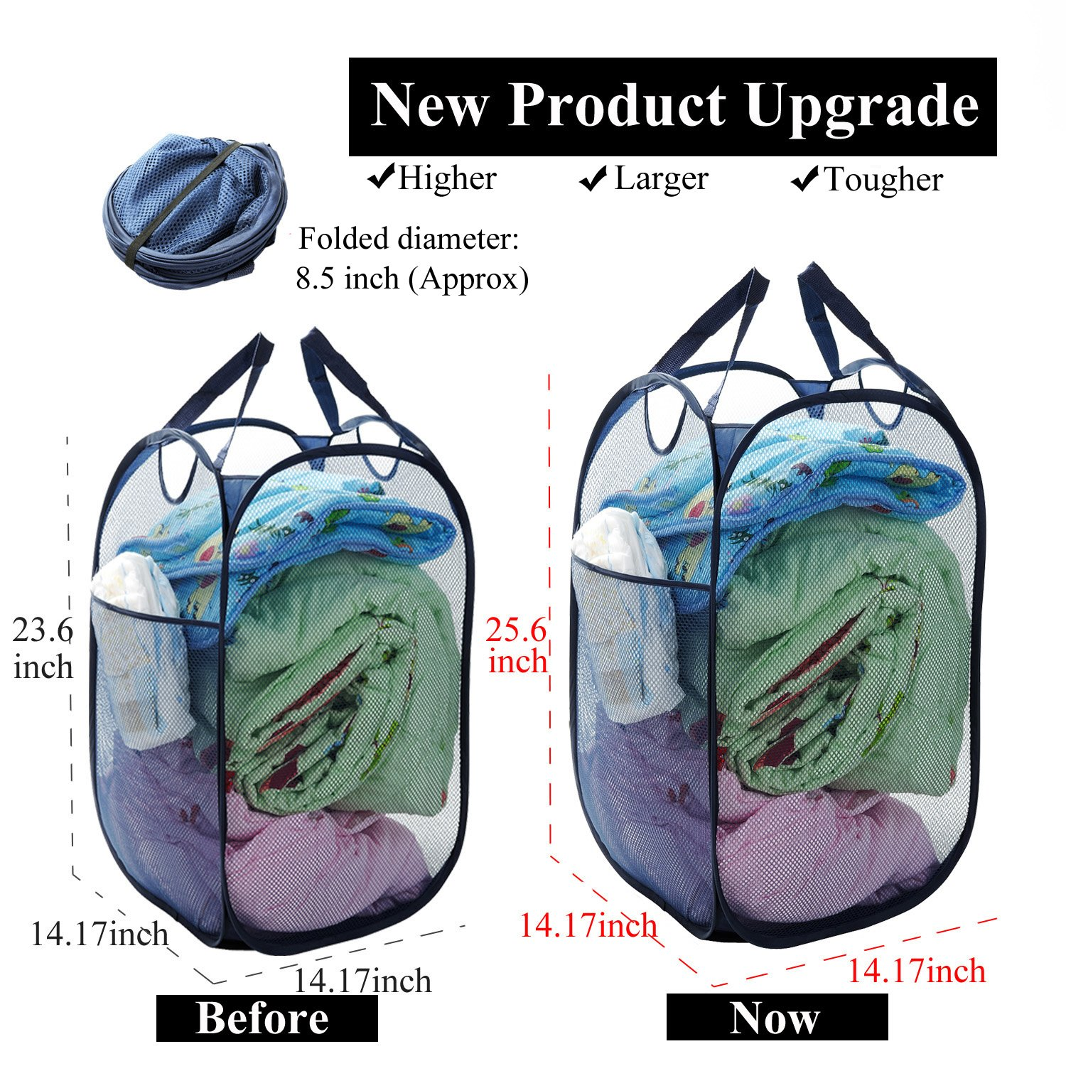 Mesh Laundry Hamper Collapsible Clothes Hamper 25.6 Inch Tall Smart Storage Pop Up Tall Laundry Basket for College Dorm Room Hamper 2 Pack