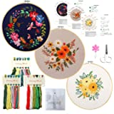 Minone 3 Sets Beginners Embroidery Kit with Pattern and Instructions for Adults and Kids,Cross Stitch Starter Kit, 3…