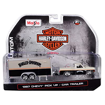 Maisto 1987 Chevrolet Pickup Truck with Enclosed Car Trailer Pearl Beige/Silver/Black Harley Davidson 1/64 Die-Cast Model Car 15363-HD2: Toys & Games