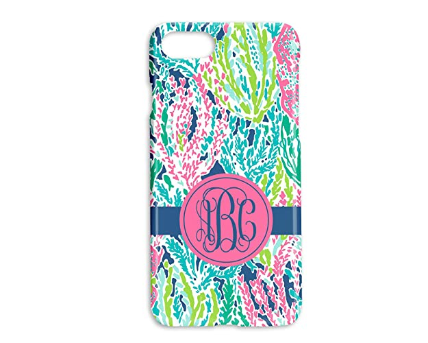cheap for discount 58a49 395f7 Custom Monogrammed Hard Shell Phone Cover | Lilly Inspired Coral Reef Print  Case | Personalized with your Monogram | iPhones 6 7 8 PLUS X XS XR MAX