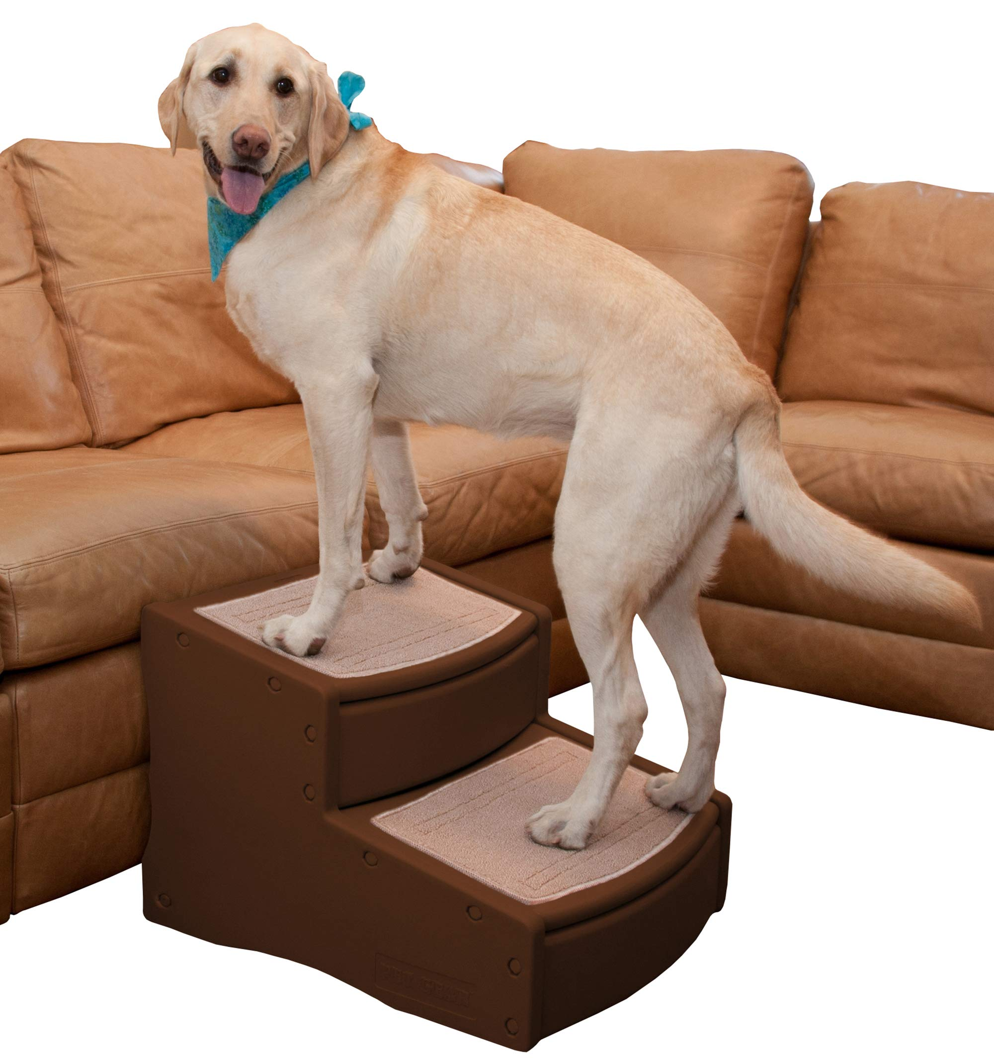 dog supplies online pet gear easy step ii extra wide pet stairs, 2-step/for cats and dogs up to 200-pounds, chocolate