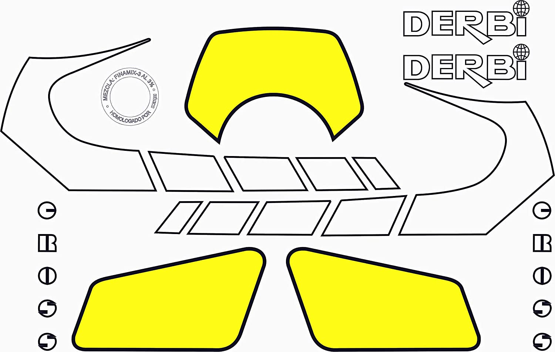 Kit de adhesivos motos clasicas DERBI Cross 50 V4 Vinilo para Moto Juego Pegatinas Completo m/áxima Calidad.