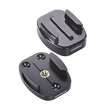 Mantona Juego de Placas de liberación rápida para GoPro, 63 mm, Color Negro