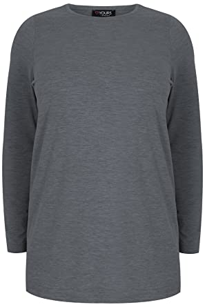 0722b3be3 Yours Women's Plus Size London Charcoal Marl Long Sleeve Soft Touch Jersey  Top Size 34-
