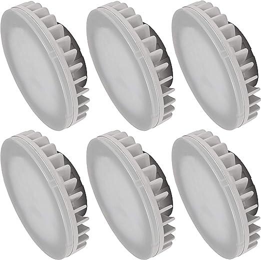 Pack de 6 bombillas LED GX53, 8 W, 800 lúmenes, CRI 80Ra, antideslumbrante, ángulo de dispersión de 120°, luz blanca diurna (4000 K).: Amazon.es: Iluminación