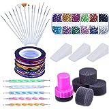 Nail Arts Kit with Nail Art Brushes, 12 Colors Nail Rhinestones, 2 Way Dotting Pen, Assorted Colors Nail Striping Tape and Gradient Nails Sponge