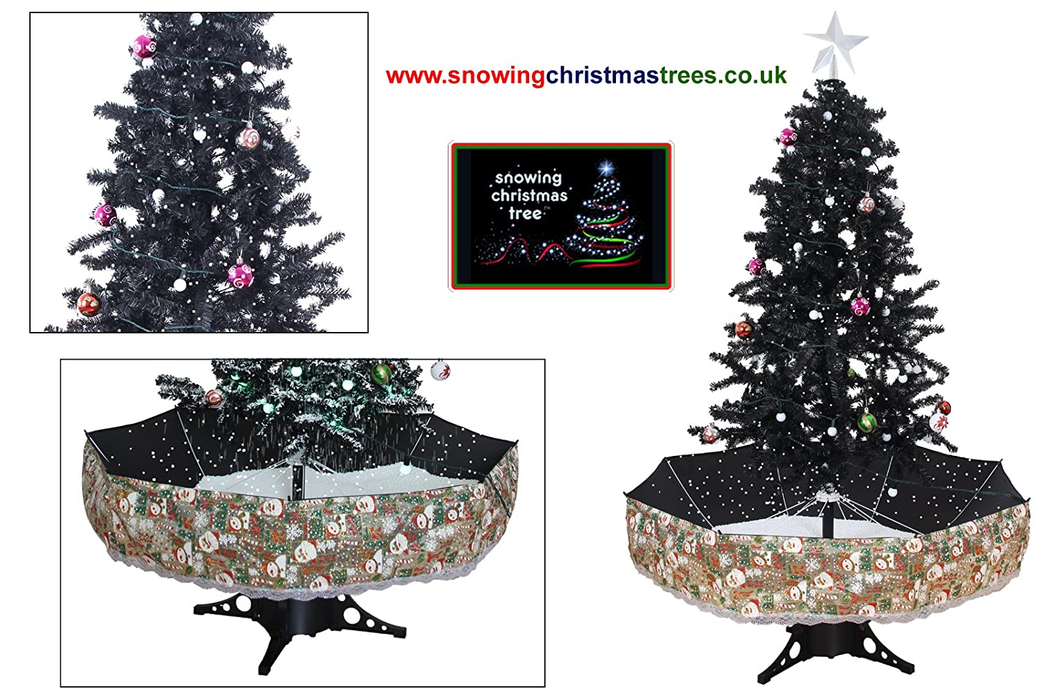 Snowing christmas decoration let it snow - Snowing Christmas Tree With Black Umbrella Base 2016 5 New Features Amazon Co Uk Lighting